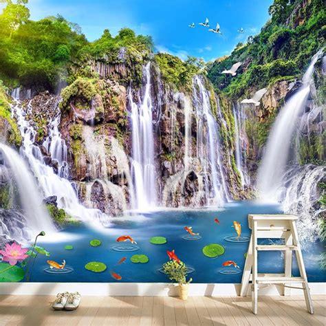 Lukisan Pemandangan Rumah Desa Klasik 1 foto wallpaper gaya cina klasik hd kolam ikan air terjun