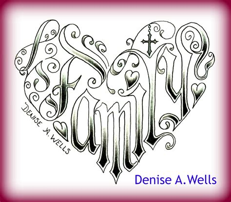 word family made into a shaped design by deni