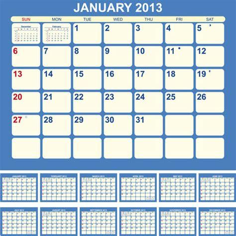 calendar design elements creative13 calendars design elements vector set free