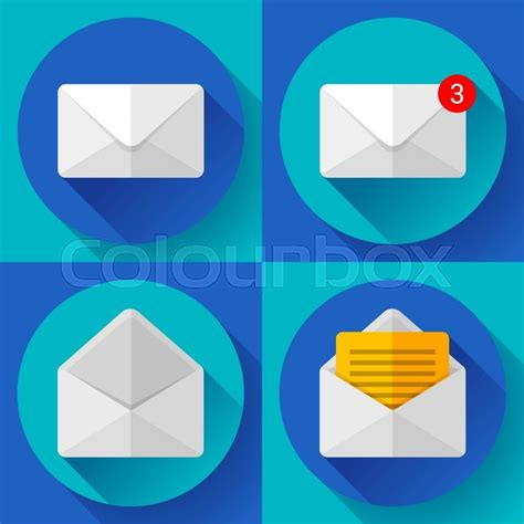 material design icon notification set open envelope mail icon new letter sms message
