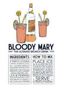 print cocktail recipe bloody mary vintage art deco style