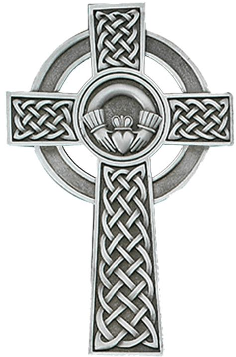 pewter 5 in claddagh celtic cross