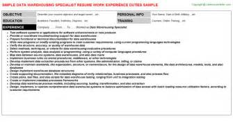Data Warehouse Specialist Cover Letter by Housing Resumes
