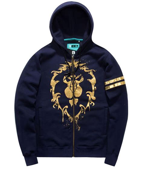 Hoodie Zipper Logo world of warcraft alliance logo sweatshirts boys blue
