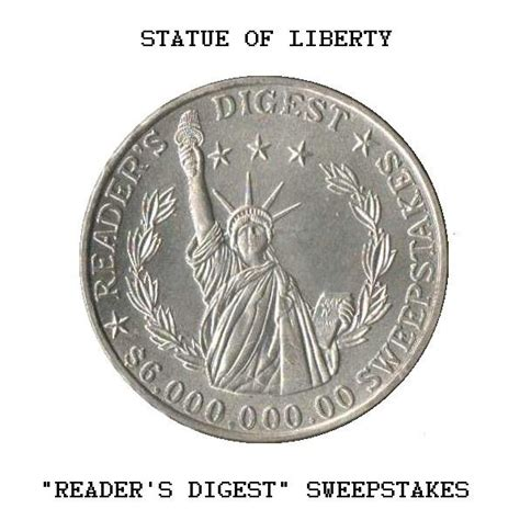 Readers Digest Sweepstakes Coin - reader s digest sweepstakes coin statue of liberty collectors weekly