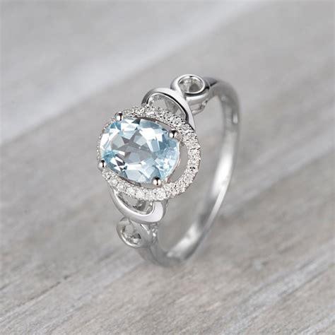 aquamarine engagement ring 14k white gold ring halo