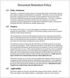 Document Retention Policy Template by Document Retention Policy Free Besttemplates123