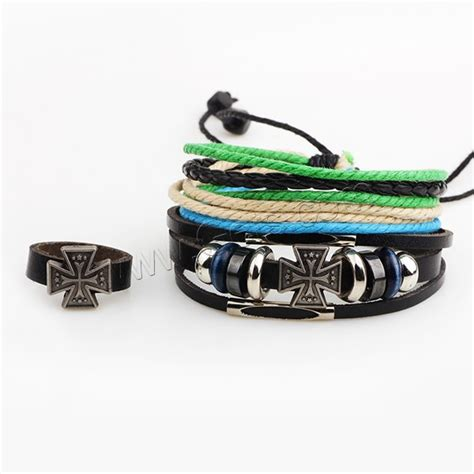 cowhide jewelry set finger ring bracelet with pu leather wood copper coated plastic zinc alloy