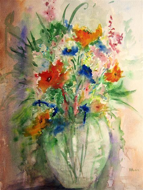 Watercolor Flowers In Vase by Flower Vase Print Of Original Watercolor Painting Floral