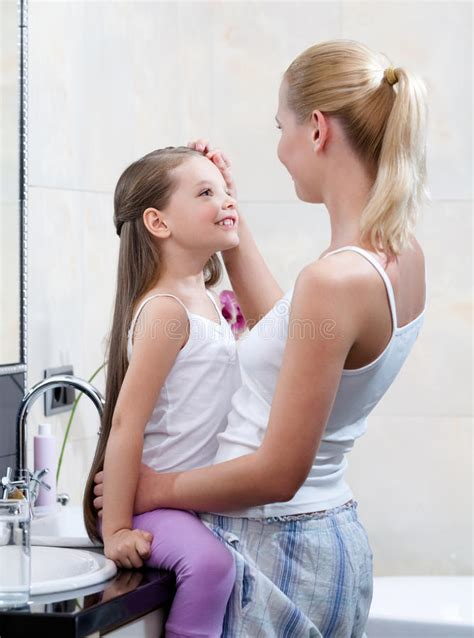 mom bathroom mom and daughter are in bathroom stock image image of