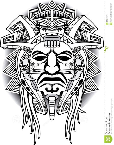 warrior tribal mask vector illustration stock image