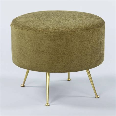 ottomans with legs pair of mid century italian upholstered ottomans with
