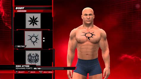 wwe2k14 how to make batista s belly button chest tattoo
