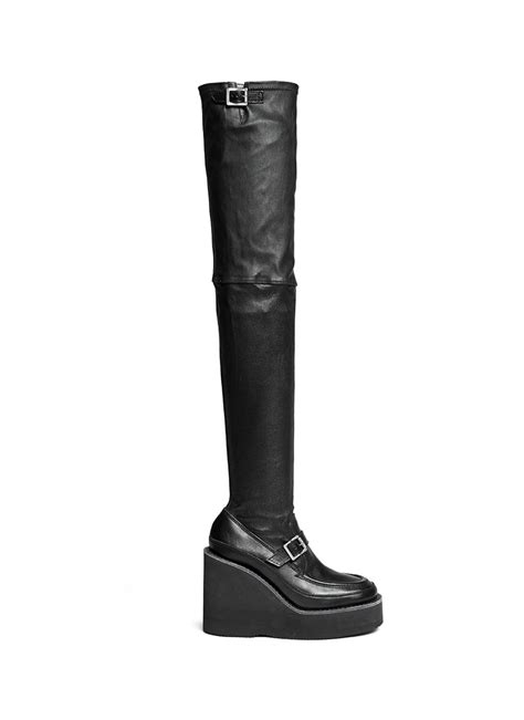 sacai thigh high leather loafer wedge boots in black lyst