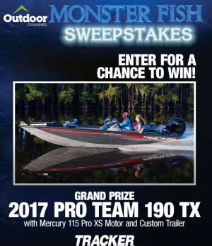 Bass Pro Sweepstakes 2017 - bass pro shops monster fish win a 2017 pro team 19 giveawayus com