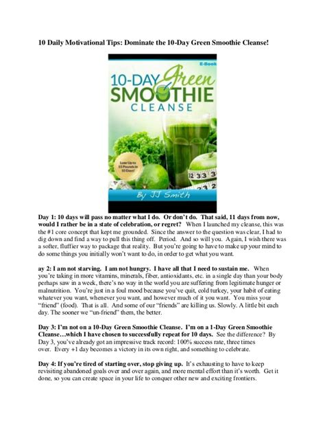 10 Day Smoothie Detox Pdf by 10 Day Green Smoothie Cleanse By Jj Smith