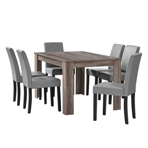[en.casa] Dining Table Antique Oak with 6 Chairs Light