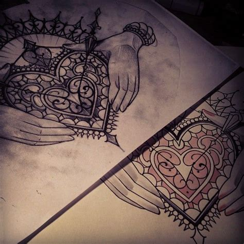 decorative heart tattoo sketch design hands holding detail