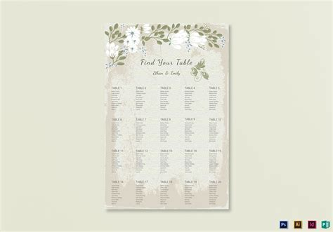 Vintage Wedding Seating Chart Template in PSD, Publisher