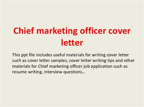 Chief Marketing Officer Cover Letter by Chief Marketing Officer Cover Letter