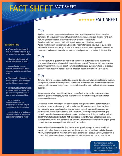 Example Resume Profile Statement by 8 Company Fact Sheet Template Company Letterhead