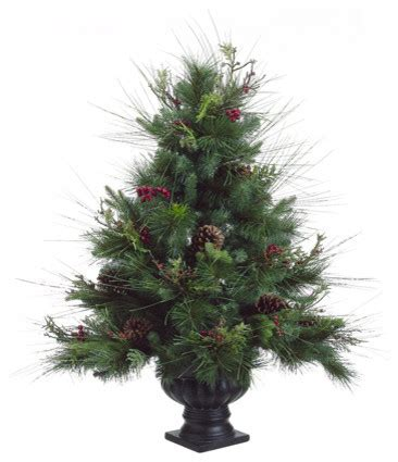 potted pine artificial christmas tree with pine cones and