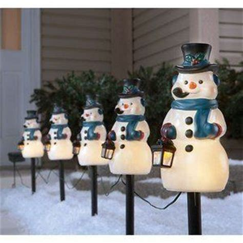 holiday time 4 piece vintage snowman pathway christmas lighted lawn stakes set 17 best images about festive led pathway lights on salts path lights and