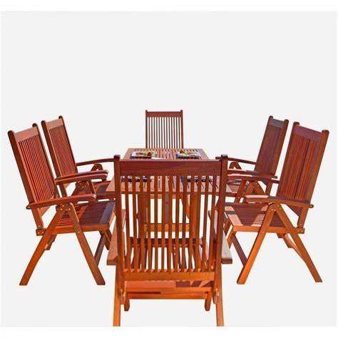 7 patio dining set 7 wood patio dining set v189set8