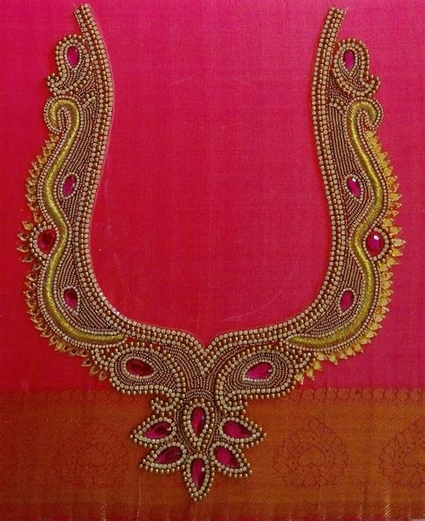blouse pattern works border maggam design with beads and threads blouses