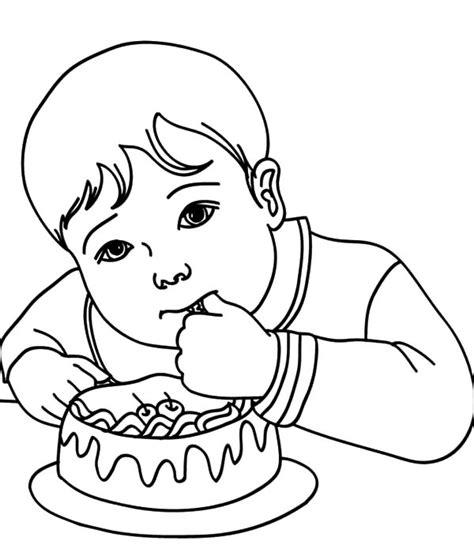 nino comiendo un helado colouring pages boy eating