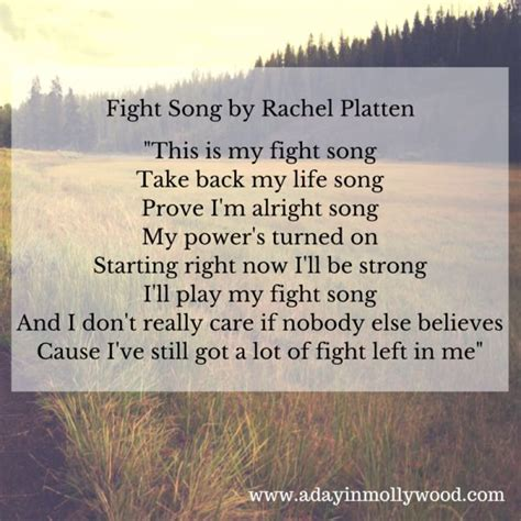 song lyrics in fight song fight song lyrics and platten on