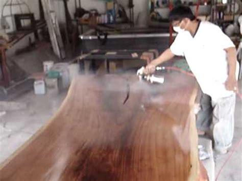 slab dining table lacquer finish freeform  edge youtube