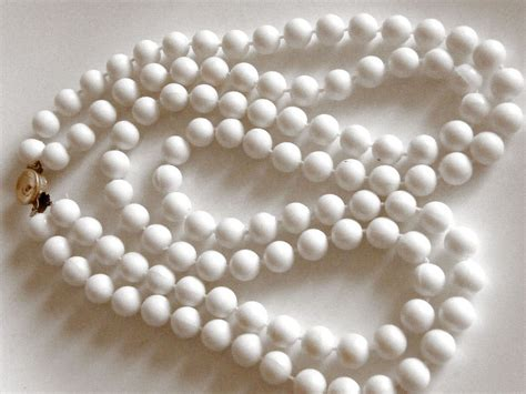 plastic bead vintage plastic bead necklace white 2 strand signed hong