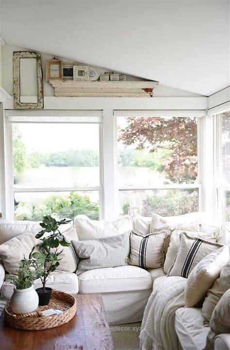 farmhouse sunroom cozy light  airy cottage style