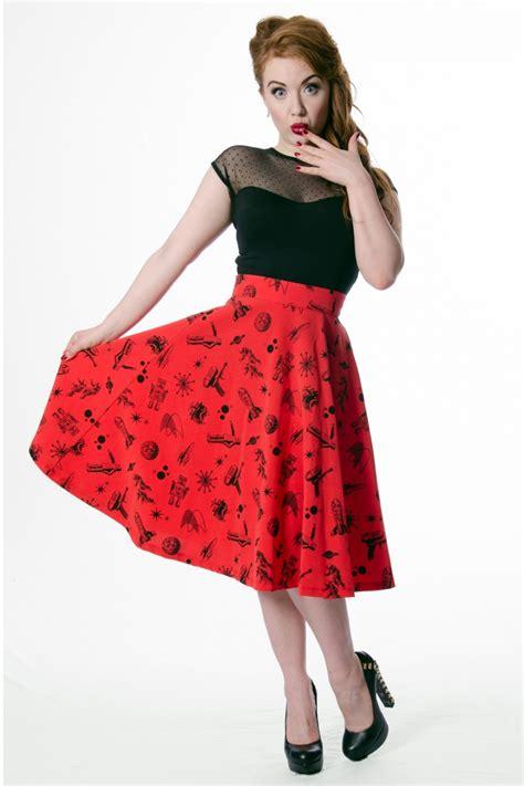 red swing skirt 50s space cadet high waisted thrills skirt red swing