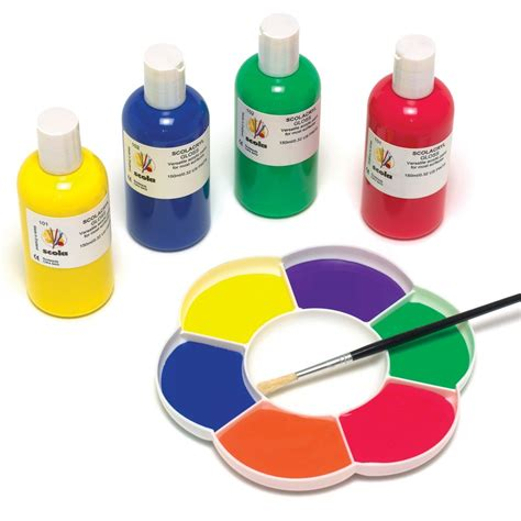Acrylic Paint ready mixed acrylic paint orange purple yellow pink green brown paints pots and brushes from