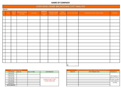 machine history card template crane cost analysis