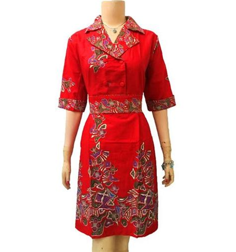 Dress Batik Wanita Ungu modern and dresses on