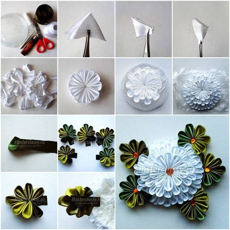 How To Make Handmade Flowers From Paper And Fabric - 75 best images about tutorial de flor kanzashi japonesa on