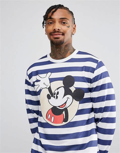 Mickey Hoodie Stripe lyst asos oversized sweatshirt with stripe mickey