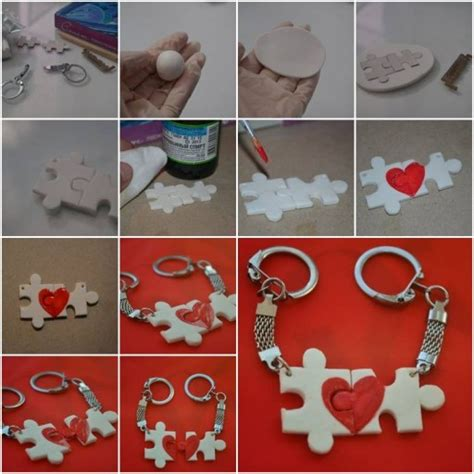 Handmade Crafts Tutorials - how to make lover puzzle key chain step by step diy