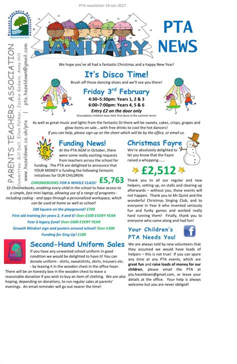 pta newsletters hazeldown primary school