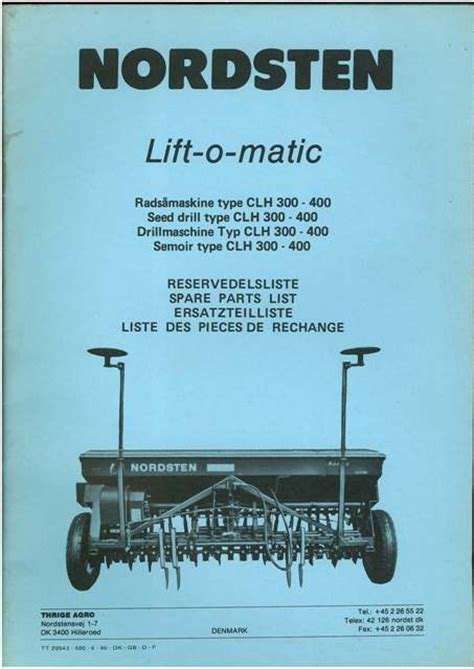 Buy A Planter nordsten lift o matic type clh 300 400 seed drill parts manual