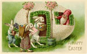 Fairy Garden Craft - vintage easter bunnies and gnome image the graphics fairy
