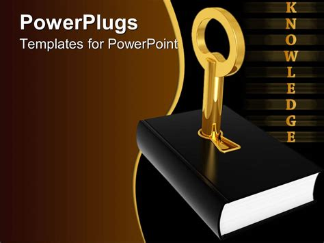 Knowledge Ppt Templates Powerpoint Template Golden Knowledge Word And Black Cover Book With 3d Golden Key Inserted In