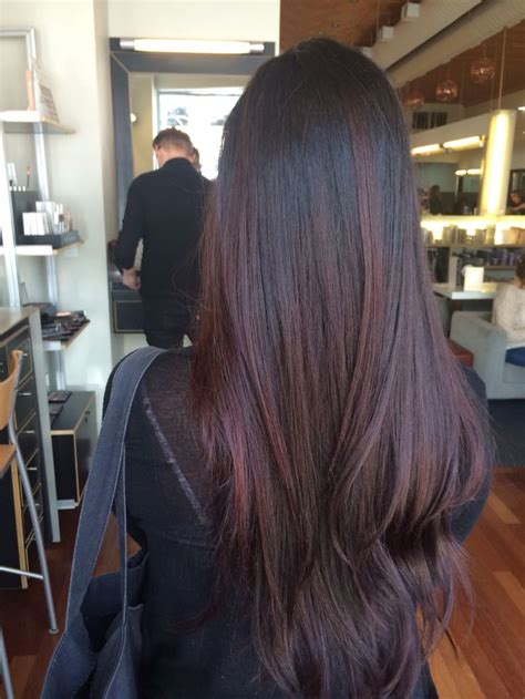 tinted short hair cut dark hair with red tint with added layers by jessica