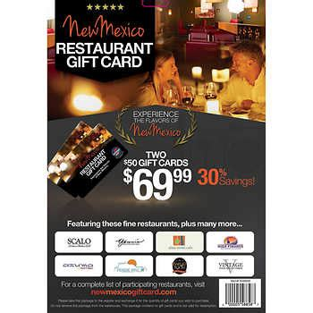 Costco Dining Gift Cards - new mexico restaurant gift card two 50 gift cards