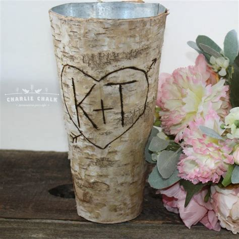 Flower Wedding Gift by Rustic Personalized Birch Vase Wedding Gift Wedding
