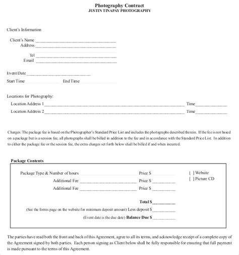 free photography contract templates photography contract template 10 free word pdf