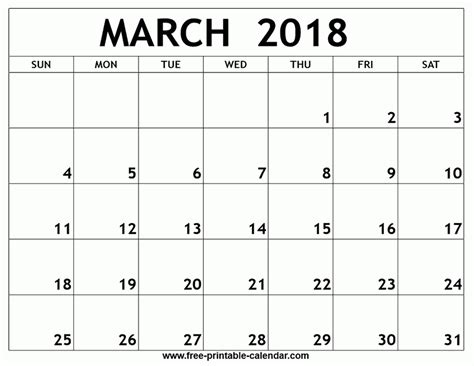 printable calendar 2018 march printable monthly calendar march 2018 yspages com